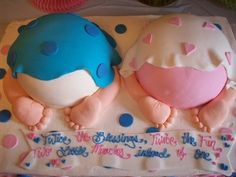 Baby shower idea for twins 3 - boy and girl cake