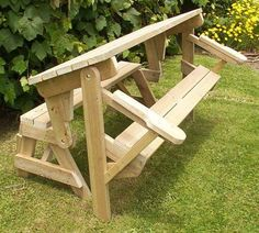 Woodworking Tips 1 piece folding picnic table woodworking plans Woodworking Shows, Woodworking Patterns, Easy Woodworking Projects, Popular Woodworking, Woodworking Furniture, Fine Woodworking, Diy Wood Projects, Woodworking Workbench, Woodworking Machinery