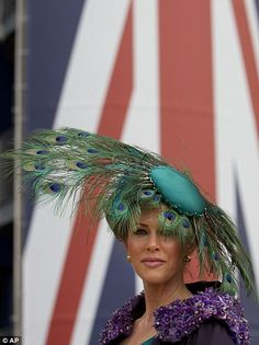 Belinda Strudwick wears a peacock feather hat on the second day of Royal Ascot horse race meeting at Ascot, England, Wednesday, June Fascinator Hats, Fascinators, Millinery Hats, Headpieces, Royal Ascot Races, Feather Hat, Feather Headpiece, Crazy Hats, Kentucky Derby Hats