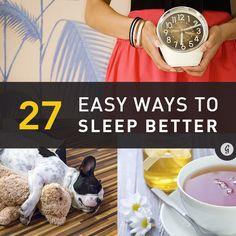 27 Easy Ways to Sleep Better Tonight #sleep #health #relax