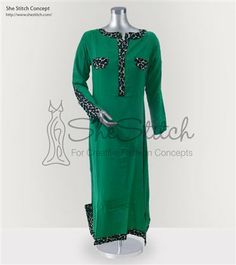 SS9493 Malai Fabric This is a plain green long kurti with tiger print stripped on neck, sleeves, pockets,