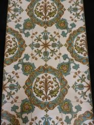 turqouise orange and green tiles vintage wallpaper