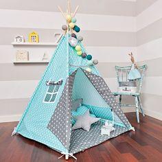 Kinderkamerdecoraties - Tipi Tent 'adem van Turquoise' - Een uniek product van FUNwithMUM op DaWanda
