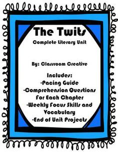 """This purchase has everything you need to read Dahl's book """"The Twits"""" in a small group or with your whole class. All activities are common core aligned and great for test prep! Included: Pacing Guide Comprehension Worksheets per week) Weekly Vocabular Science Resources, Reading Resources, Reading Activities, Reading Skills, Literacy Activities, 6th Grade Ela, Third Grade, Library Plan, The Twits"""