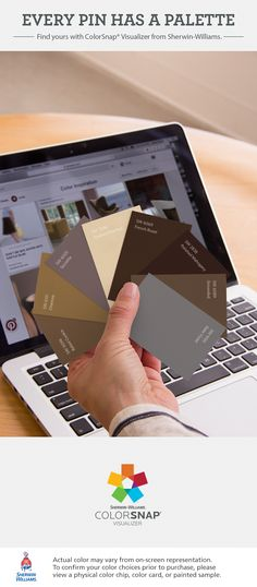I found these colors with ColorSnap® Visualizer for iPhone by Sherwin-Williams: Baked Cookie (SW 9098), Chamois (SW 6131), Socialite (SW 6025), Toasted Pine Nut (SW 7696), French Roast (SW 6069), Polished Mahogany (SW 2838), Grounded (SW 6089), Slate Violet (SW 9155). See the pin that inspired my palette: https://www.pinterest.com/pin/78742693465824657/