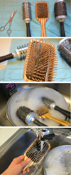 How to Clean Hairbrushes<br> Diy Cleaning Products, Cleaning Hacks, Clean Hairbrush, Happy House, Clean Freak, Hair Brush, Beauty Hacks, Beauty Tips, Health Remedies