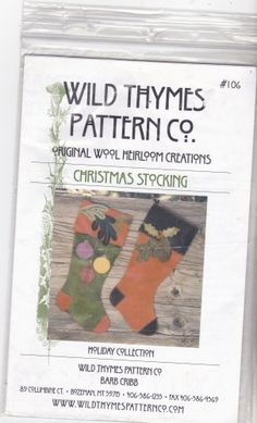 Wild Thymes Sewing Pattern 106 Christmas Stocking