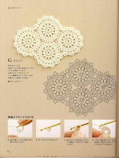 Japanese book and handicrafts - Hand Knitting Note - Crochet Motif and Edging Crochet Stitches Chart, Crochet Diagram, Crochet Motif, Crochet Shawl, Crochet Books, Crochet Home, Diy Crochet, Lace Doilies, Crochet Doilies