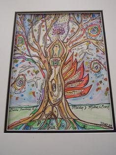 GODDESS Tree of LIFE, Original Watercolor, Pen and Ink, Scrapbook Paper Collage, in Mat ready for framing, Divine Feminine, Healer, Nature