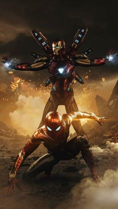 Iron Spidey and Iron Man iPhone Wallpaper