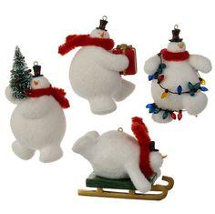 Flocked Snowman Ornaments