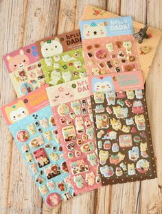 kawaii-Hello-Dada-SPARKLY-Puffy-Stickers-deco-embossed-animals-bear-friends