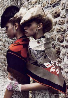 Lara Stone & Aline Weber/Vogue Paris June 2008