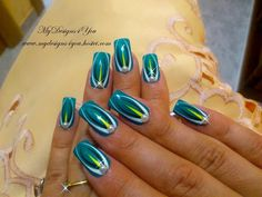 Turquoise abstract nail art.