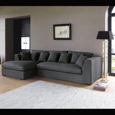 Corner sofa in Slate Grey, seats 5 Long Island Long Island, Angles, Walnut Floors, Wall Paint Colors, Corner Sofa, Room Corner, Decoration, Sweet Home, House Design