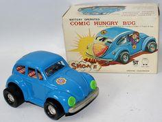 Vintage Battery Op COMIC HUNGRY BUG VW Volkswagen Beetle Bug, Tora / ST Japan