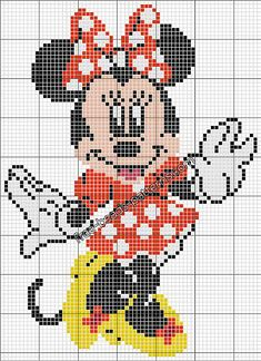 Disney Minnie free perler hama beads pattern in 90 beads size - free perler beads patterns fuse beads Hama Beads Hama Beads Disney, Disney Hama Beads Pattern, Hama Beads Patterns, Cross Stitch Cards, Simple Cross Stitch, Cross Stitch Baby, Cross Stitch Kits, Cross Stitch Embroidery, Cross Stitching