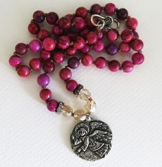 Boho knotted necklace, Guardian Angel necklace