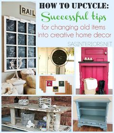 How to Upcycle: Successful Tips for Changing Old Items from your home into new or repurposed ones! Repurposed Furniture, Diy Furniture, Repurposed Items, Painted Furniture, Furniture Projects, Diy Projects To Try, Home Projects, Deco Dyi, Trash To Treasure