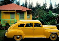 The yellow hues of a small home in Lanai City, Hawaii, are matched by its owner's vintage Plymouth. Many residents of this village live in such pastel-painted cottages, first built for pineapple plantation workers. Photograph by Jim Richardson Yellow Fever, Yellow Car, Yellow Submarine, Mellow Yellow, Color Yellow, Mustard Yellow, Bright Yellow, Yellow Theme, Pastel Yellow