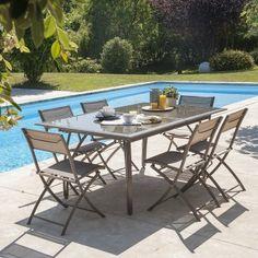 Salon de jardin PORTEFINO Ermanno G haut taupe table 8 assises ...