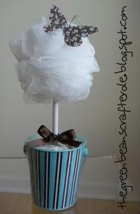 Pouf Topiary: A topiary made from a bath pouf. cute decoration for the bathroom!