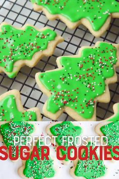 Perfect Frosted Sugar Cookies The only rollout cookie recipe you'll ever need! This is THE perfect recipe for cutout sugar cookies. Delicious, mildly flavored, and they don't spread in the oven! Christmas Sugar Cookies, Christmas Snacks, Holiday Cookies, Gingerbread Cookies, Christmas Parties, Sugar Cookie Frosting, Soft Sugar Cookies, Frosted Cookies, Decorated Cookies