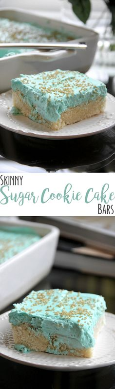 Skinny Sugar Cookie Bars by Skinny Girl Standard, a low calorie food blog. Made with skinny cream cheese frosting.