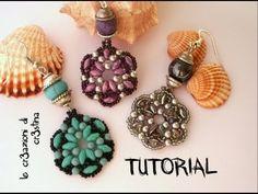 * Tutorial Orecchini TANTI AUGURI Superduo/Twin beads, Perle, Bicono Swarovski 3 mm, Rocailles (1/2)