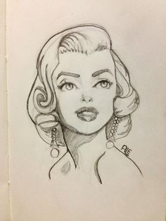 Marilyn Monroe by Alemchl || A very cool Disney-style sketch of Marilyn.