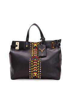 Valentino My Rockstud Large Jamaica Tote Bag, Black Multi