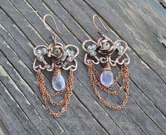 Purple earring, lavender amethyst, Wire wrapped earrings, Copper earrings, amethyst earrings, lavender amethyst wire wrapped, lovely earring