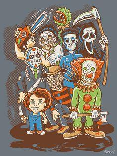 American Horror Story- Twisty Poster 22 x Horror Cartoon, Horror Icons, Horror Comics, Cartoon Art, Horror Posters, Slasher Movies, Horror Movie Characters, Chucky, Freddy Jason