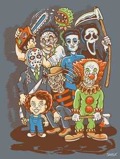 horror movies are my absolute favorite and when i first thing that stood out to me was the way that it was colored. I also love how these characters are drawn in a less threatening way when they are typically displayed as gruesome.