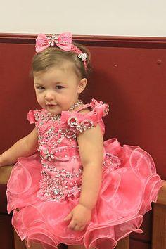C1 Toddler Girl Baby National Glitz Pageant  Dress Sz 1 2 3 4 5 6 7 Yellow