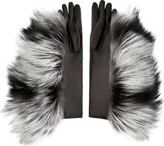 Maison Martin Margiela Grey Leather & Silver Fox Fur Gloves