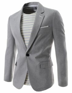 (OSJ1041-GRAY) Thelees Mens Slim Fit Single Breasted Notched Lapel 1 Button Blazer