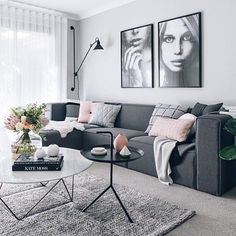 Loving the colour combinations that Tarina had used to style her new media room @oh.eight.oh.nine our pink button cushion looks pretty amazing on this couch too I think | ImmyandIndi