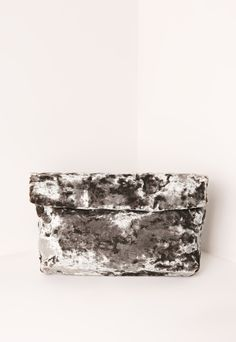 Velvet Roll Top Clutch Bag Grey | MISSGUIDED saved by #ShoppingIS
