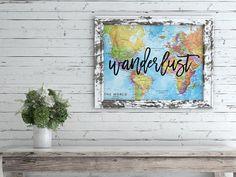 Wanderlust Art Print, Wall Decor, Map Art, Graduation Gift, Gift for Dad, College Dorm Decor, Watercolor Map