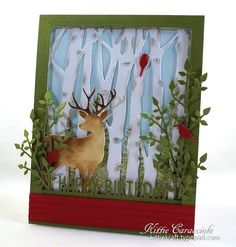 This is for IC467 and Harry and David is our inspiration site today.  I needed to make a guy birthday card and decided to use our inspiration site to help me come up with something.  I think masculine cards can be much more difficult than cards for women.  I turned to a deer in the woods scene and was inspired by the Holiday Moose Munch found here:  http://www.harryanddavid.com/h/26748?sliSearch=moose  The inspiration picture is a Christmas theme so I used the color combination for my card…
