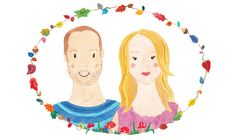 Illustrated Couple Portrait surrounded by a lovely autumnal garland.