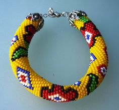 Beaded Bracelet  Beaded Crochet Bracelet by omes37 on Etsy