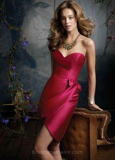 Cherry Satin Strapless Sweetheart Knee Length Bridesmaid Dress