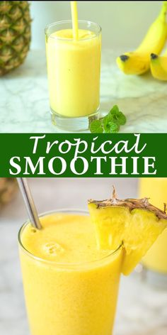 This Tropical Smoothie is easy to make and it tastes incredible Whether you are looking for a light breakfast or a tasty afternoon treat youll definitely enjoy this sunny. Tropical Smoothie Recipes, Easy Smoothie Recipes, Easy Smoothies, Weight Loss Smoothies, Fruit Smoothies, Healthy Recipes, Protein Smoothies, Breakfast Smoothies, Spinach Banana Smoothie