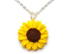 Sunflower Jewelry Necklace  Yellow Mammoth by strandedtreasures, $20.00