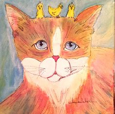 Original Cat Whimsy Painting called The Babysitter by LouBelcher on Etsy
