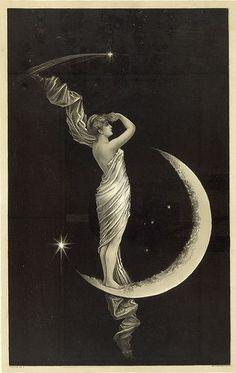 la luna - From an original century (June illustration… Art Et Illustration, Illustrations, Vintage Moon, Vintage Paper, Vintage Art, Paper Moon, Alphonse Mucha, Moon Goddess, Luna Goddess