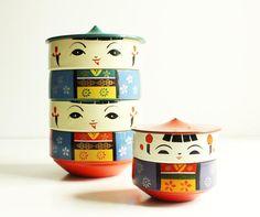 Kokeshi Storage Ware Bento Box Lacquerware by xvotovintage on Etsy