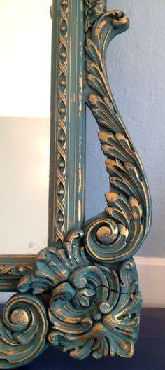 Large Ornate Vintage Mirror with Custom Paint by CarolinaRoad, $199.00